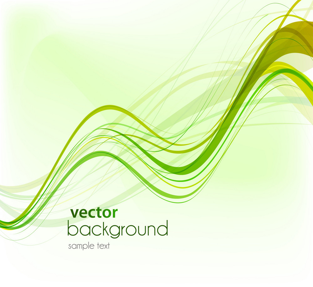 Vector Green Abstract Waves Background