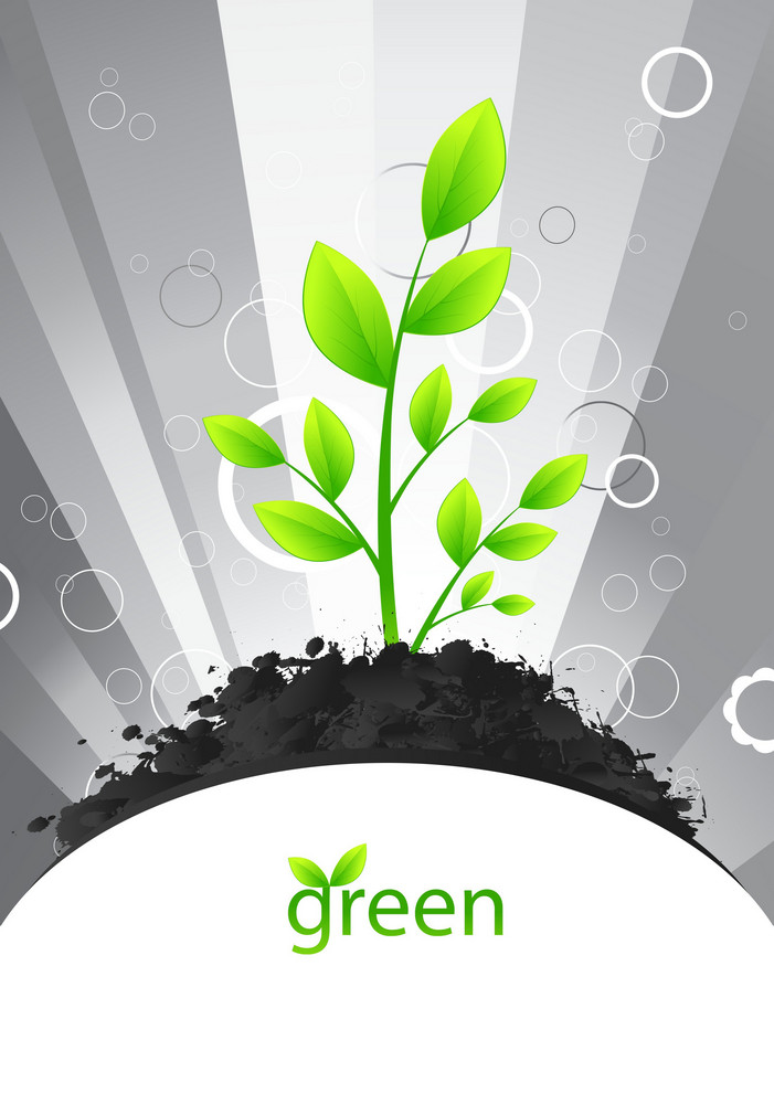 Vector Green Design With Rays Background