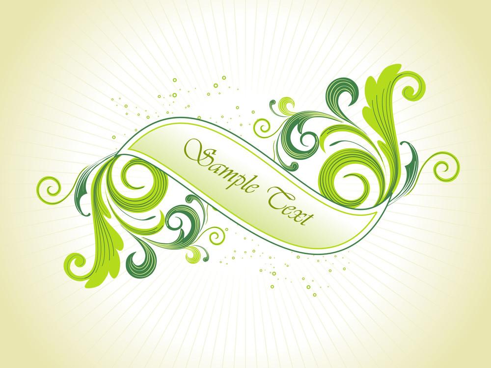 Vector Green Floral Banner