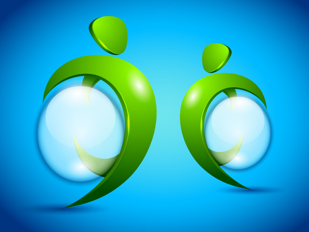 Vector Green People With Water Bubble