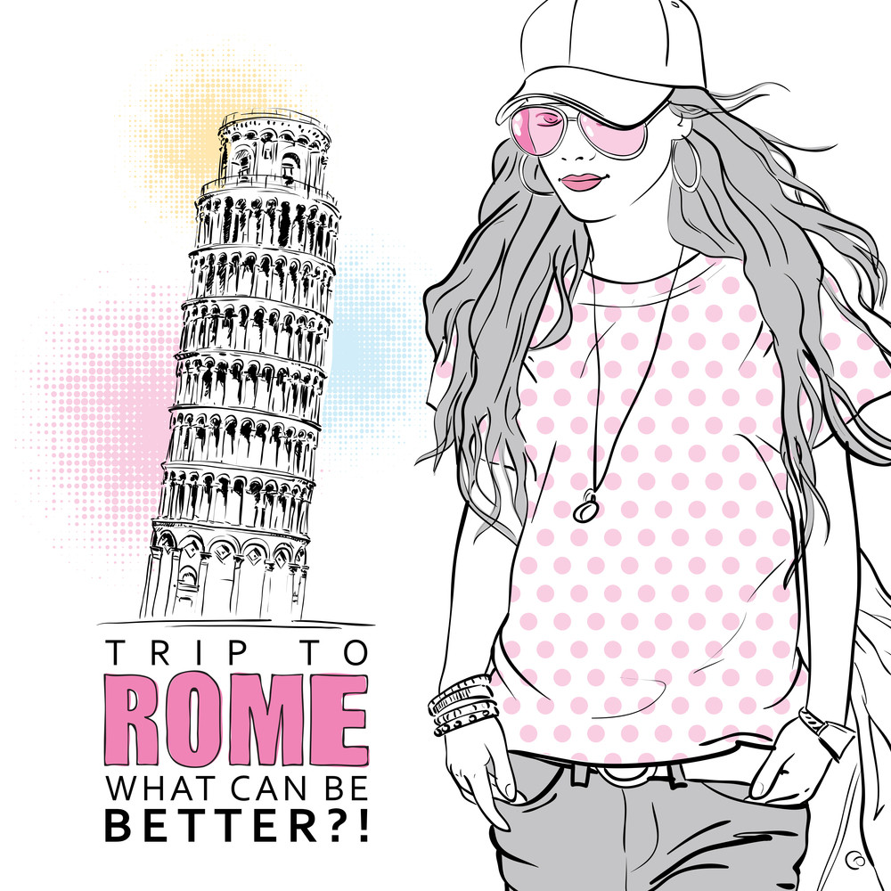 Vector Greeting Card With Fashion Girl