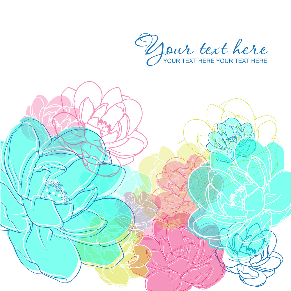 Vector Greeting Card With Flowers.