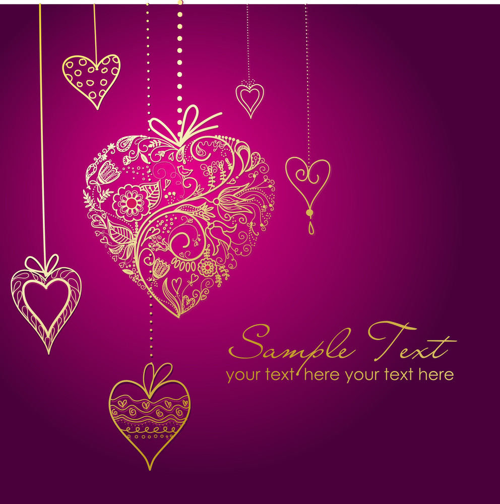 Vector Greeting Card With Hearts-