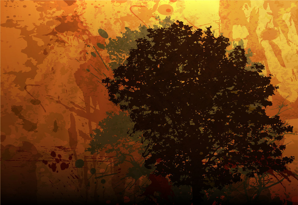 Vector Grunge Autumn Background With Tree