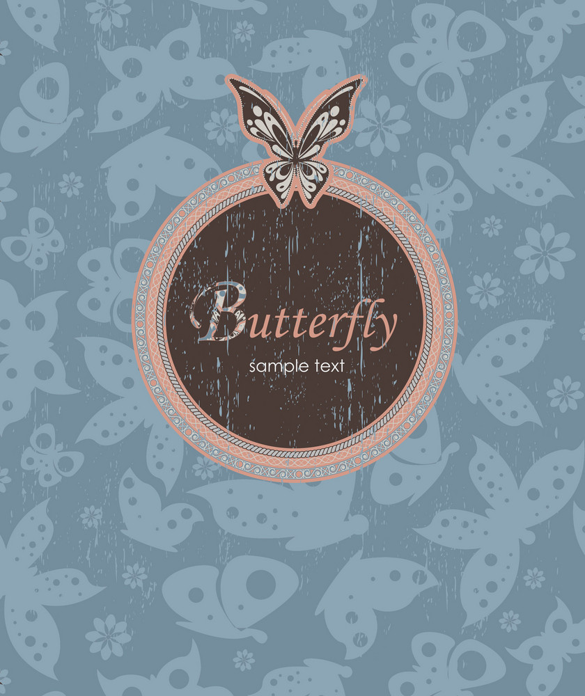 Vector Grunge Background With Butterflies