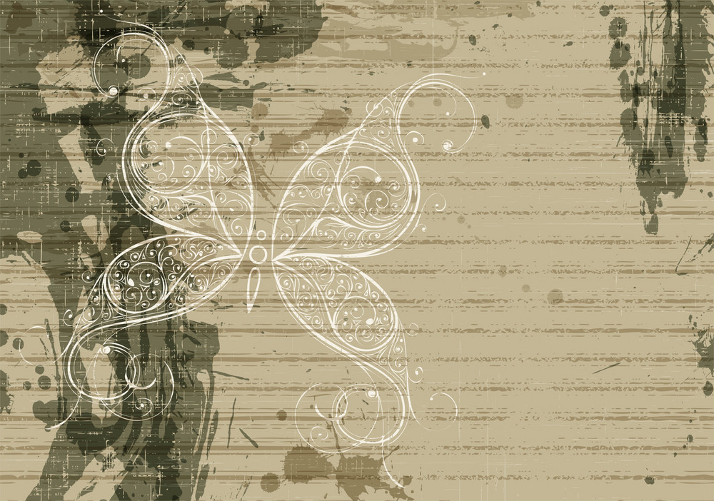 Vector Grunge Background With Butterfly Made Of Floral