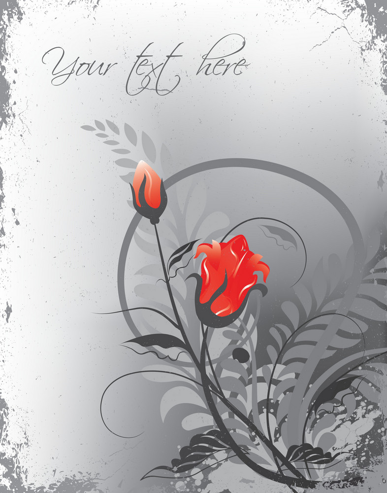 Vector Grunge Background With Floral
