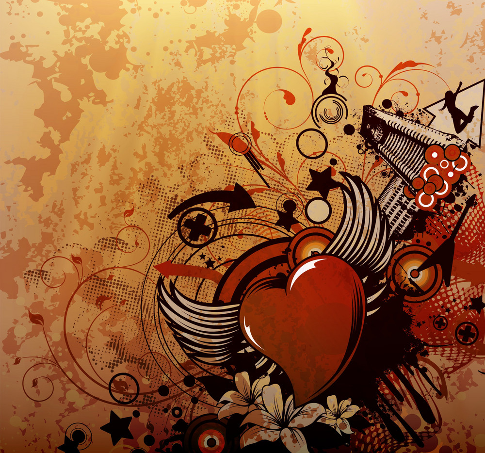 Vector Grunge Background With Heart