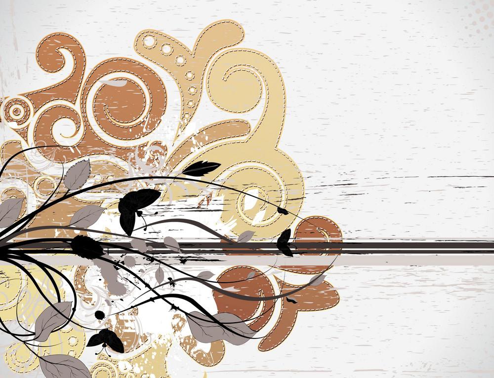 Vector Grunge Background With Swirls