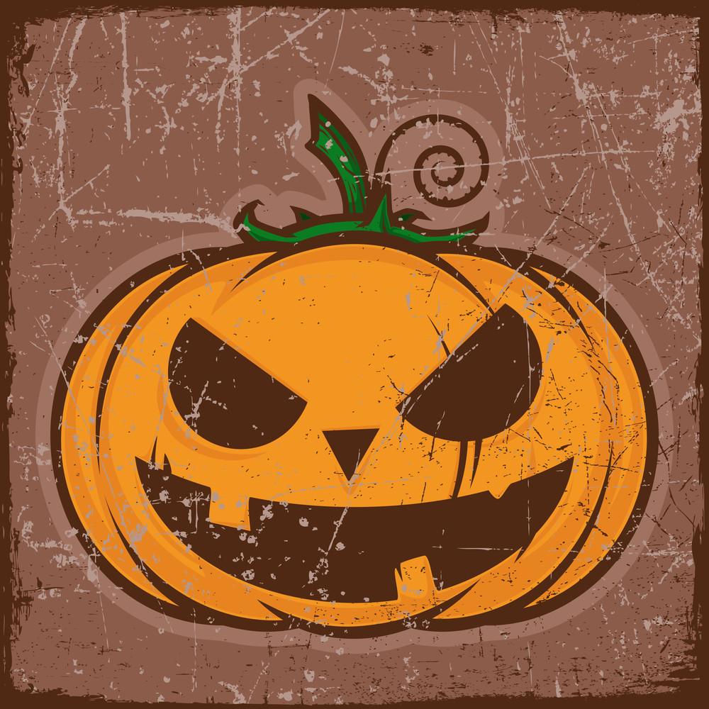 Vector Grunge Card With Cartoon Pumpkin. Vector Illustration.
