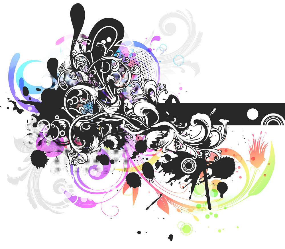 Vector Grunge Colorful Floral Background