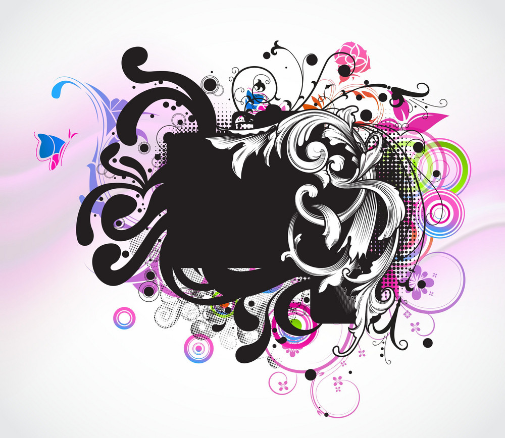 Vector Grunge Colorful Floral Frame