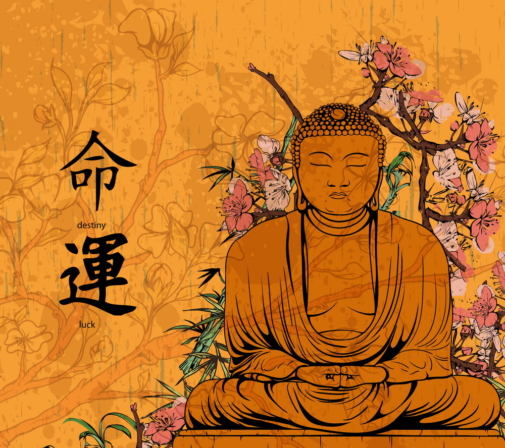 Vector Grunge Floral Background With Buddha Statue