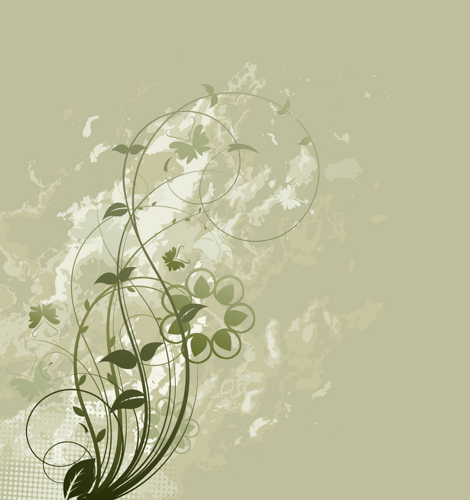 Vector Grunge Floral Background With Butterflies