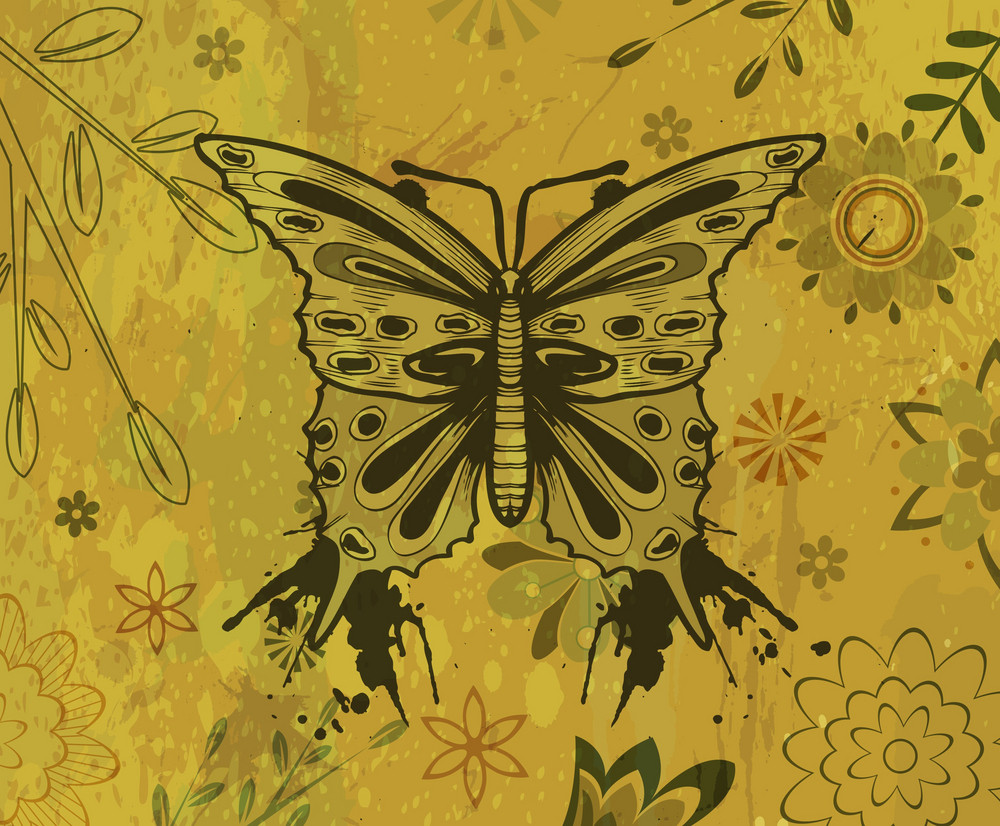 Vector Grunge Floral Background With Butterfly