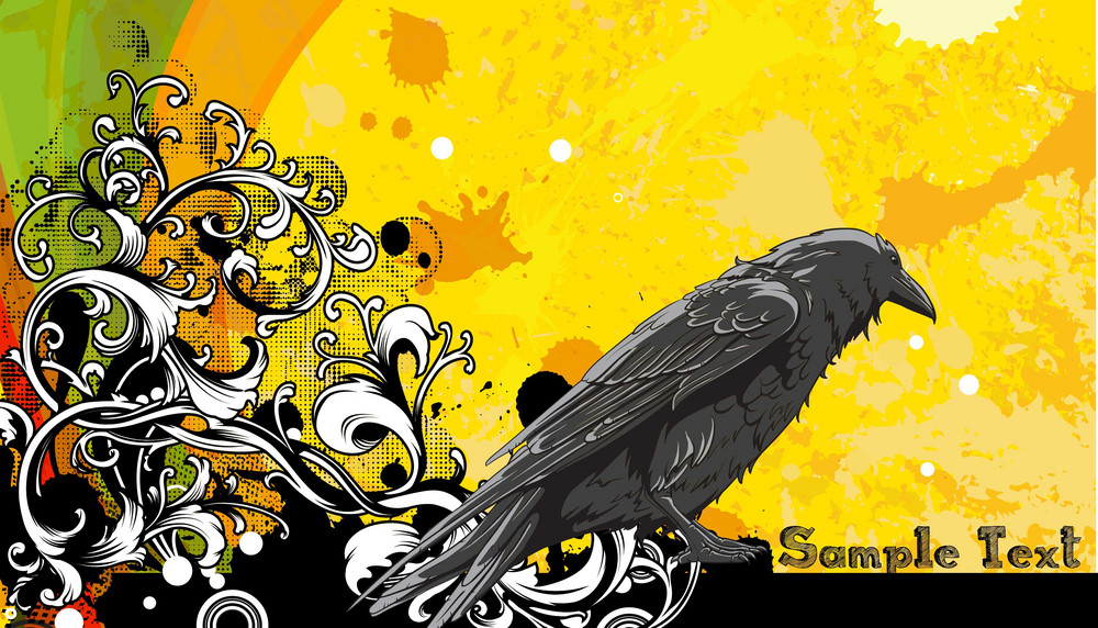 Vector Grunge Floral Background With Raven