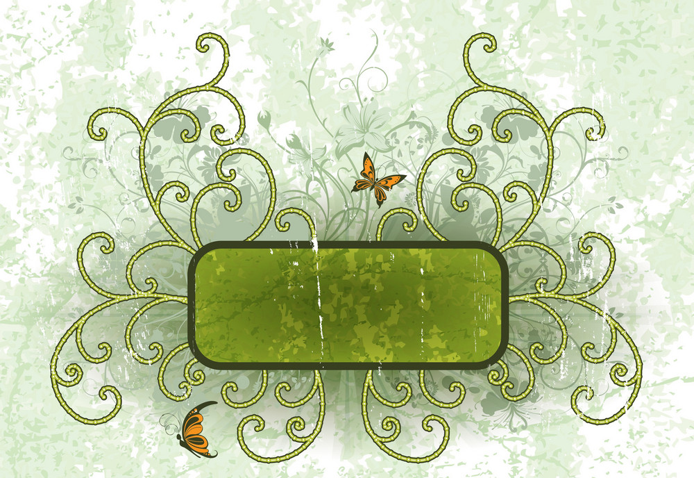 Vector Grunge Floral Frame With Butterflies
