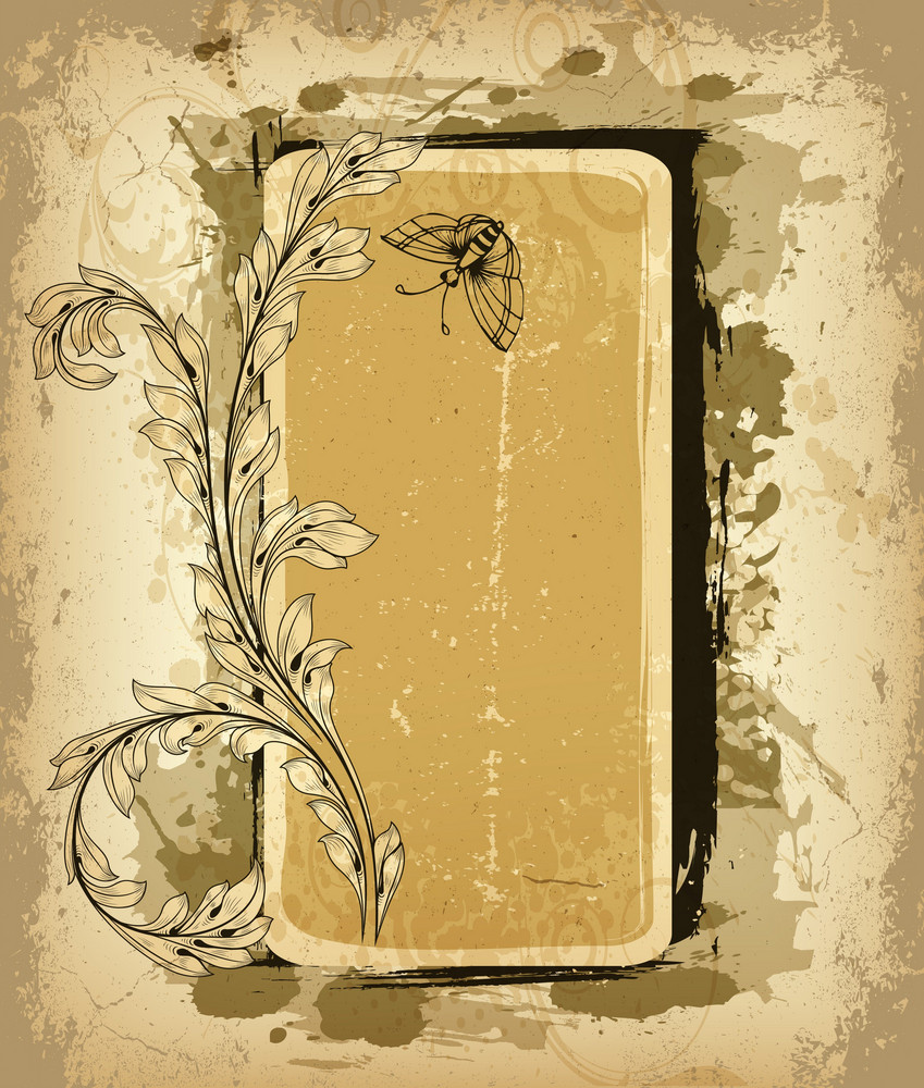 Vector Grunge Floral Frame With Butterfly