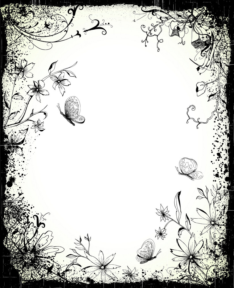 Vector Grunge Frame With Butterflies