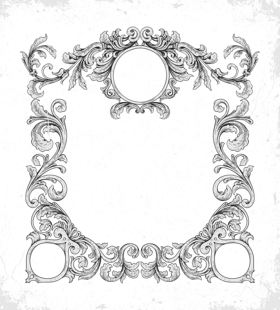 Vector Grunge Frame With Floral