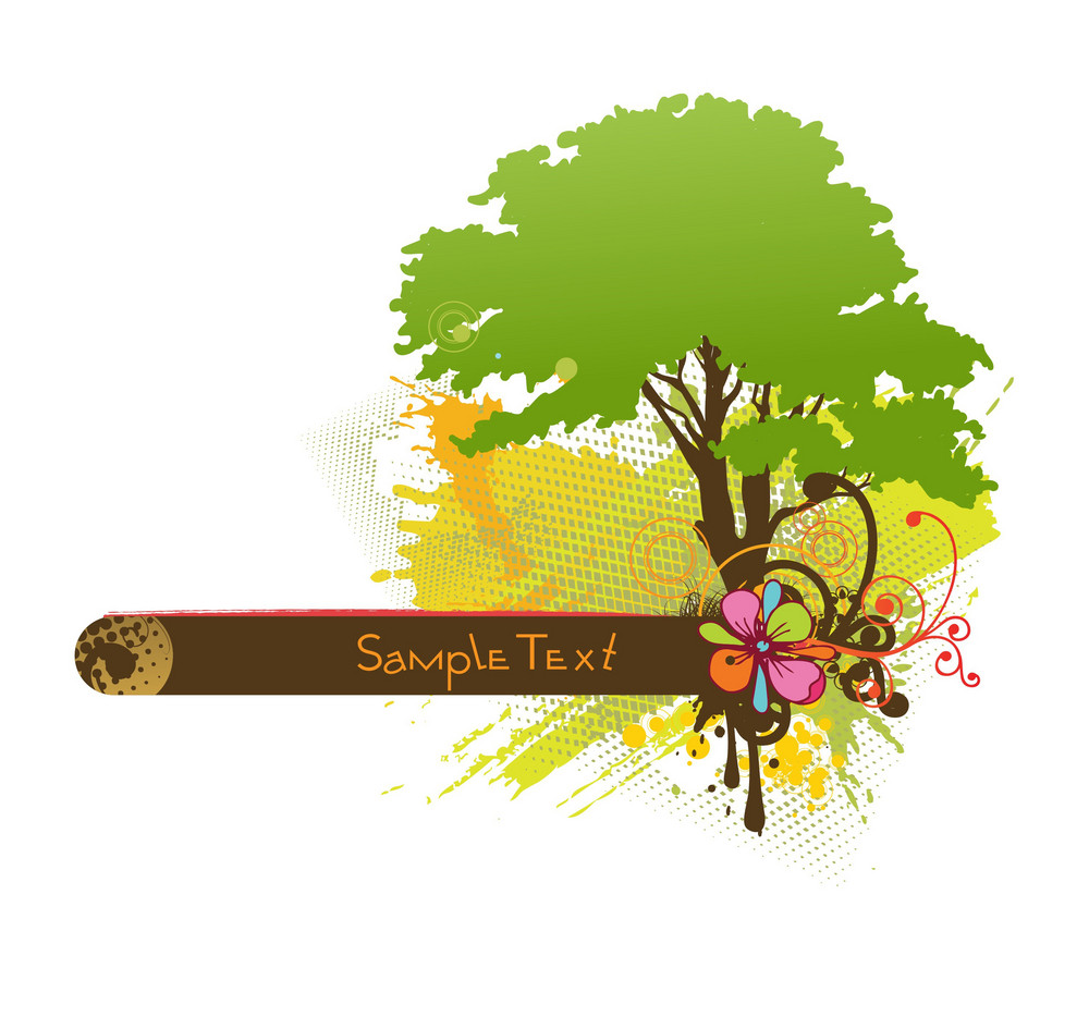 Vector Grunge Frame With Tree