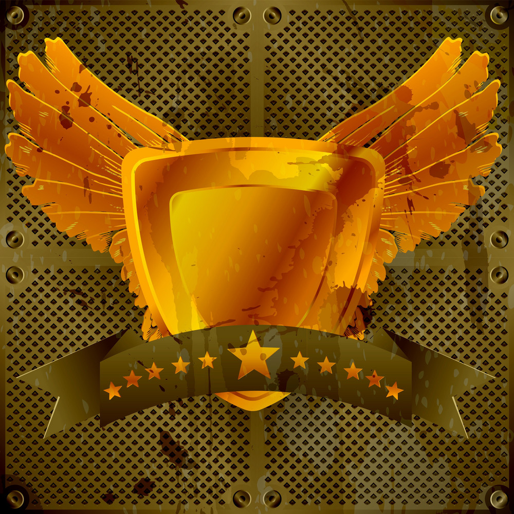 Vector Grunge Gold Emblem With Wings