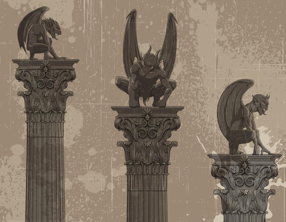 Vector Grunge Gothic Background With Gargoyles