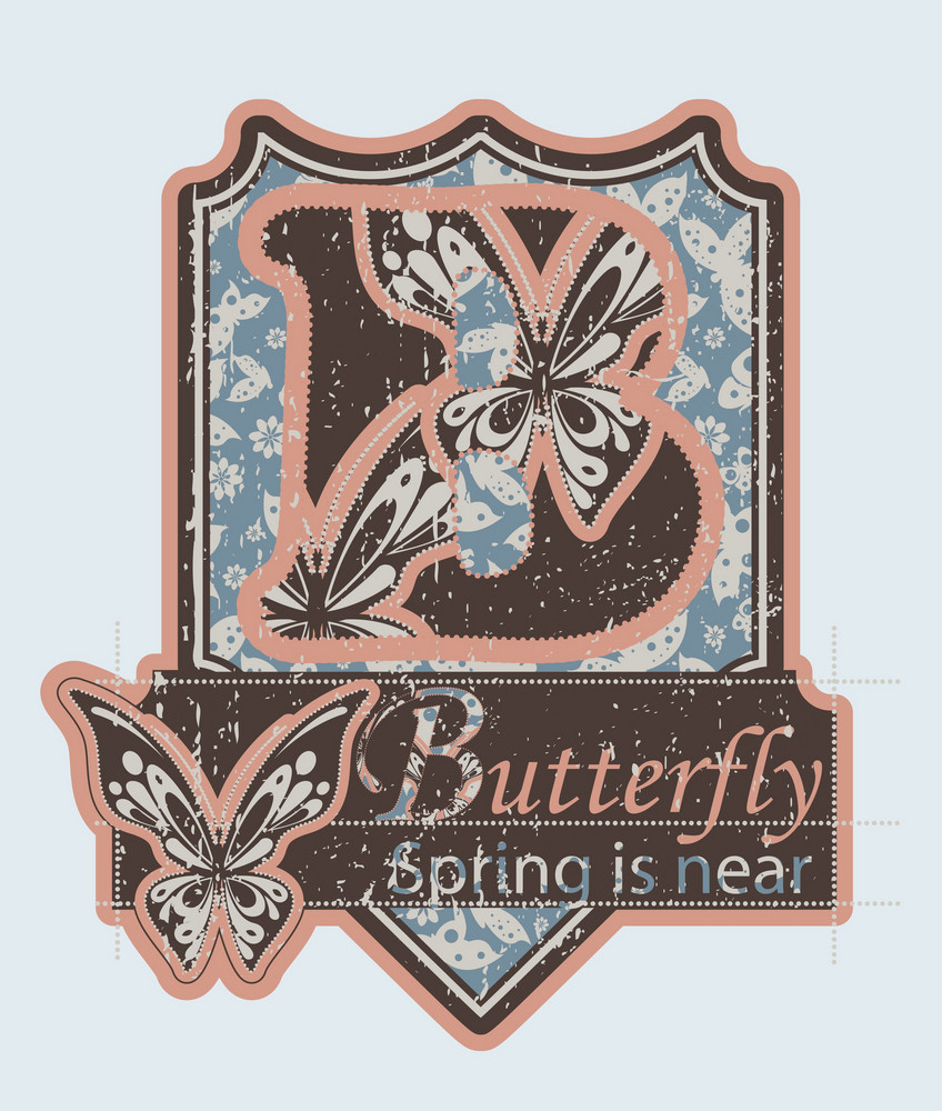 Vector Grunge Label With Butterflies