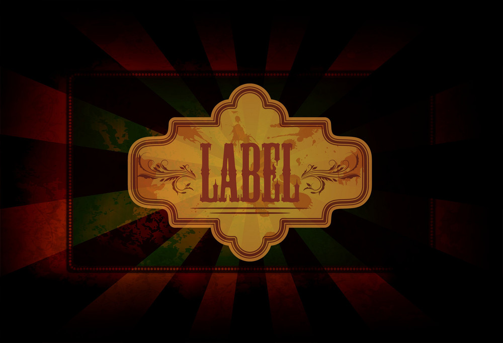 Vector Grunge Label With Rays Background