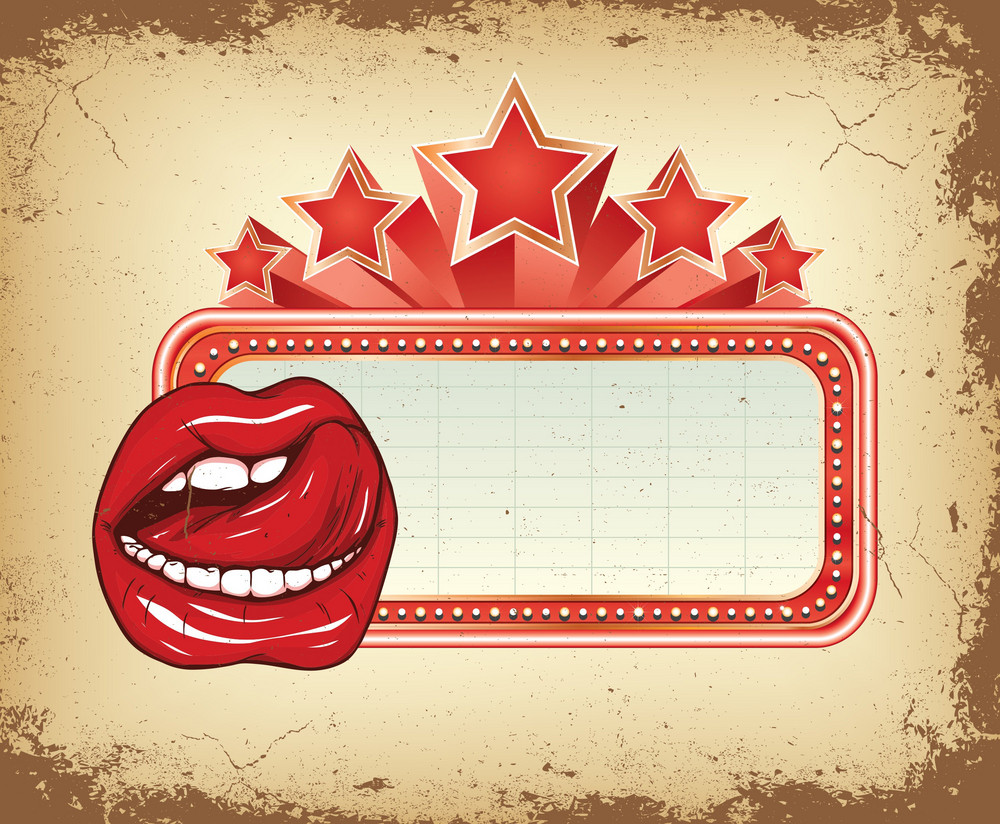 Vector Grunge Neon Sign Background With Mouth