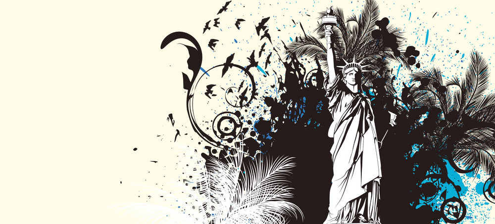 Vector Grunge Summer Background With Statue Of Liberty