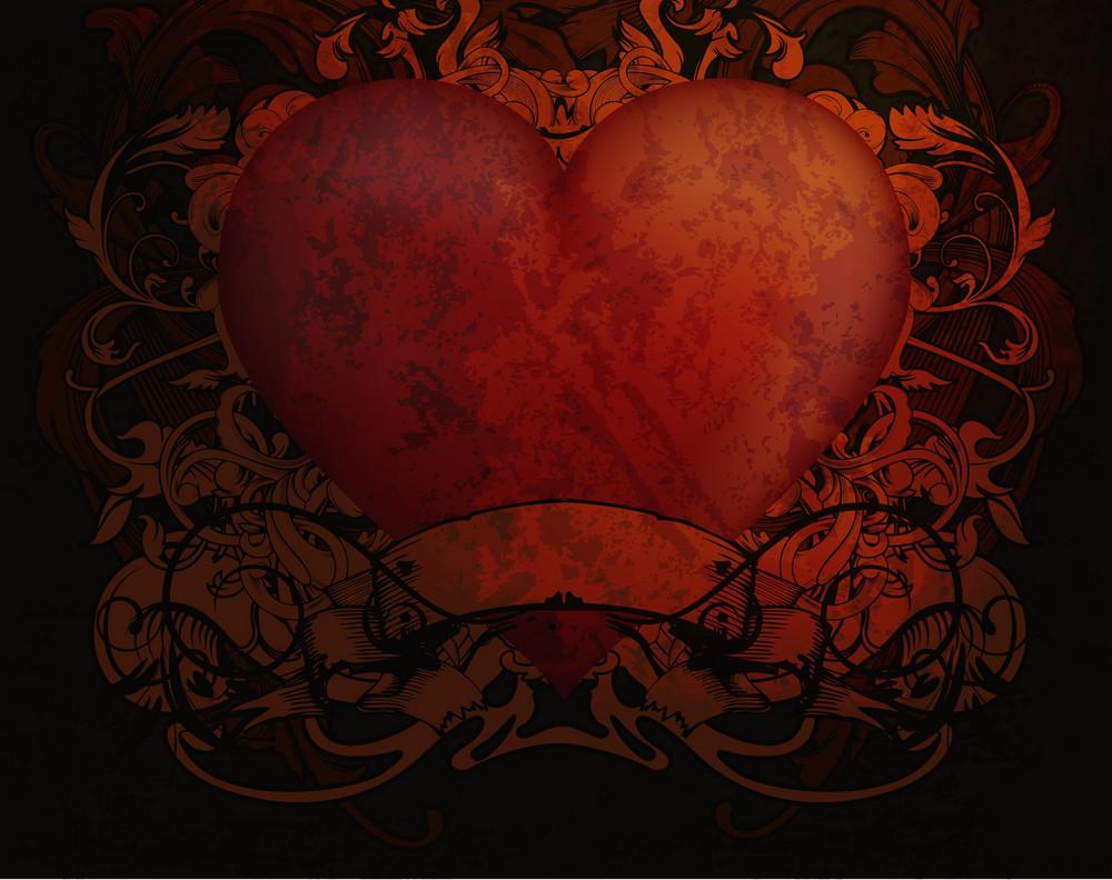 Vector Grunge Valentine Background With Heart