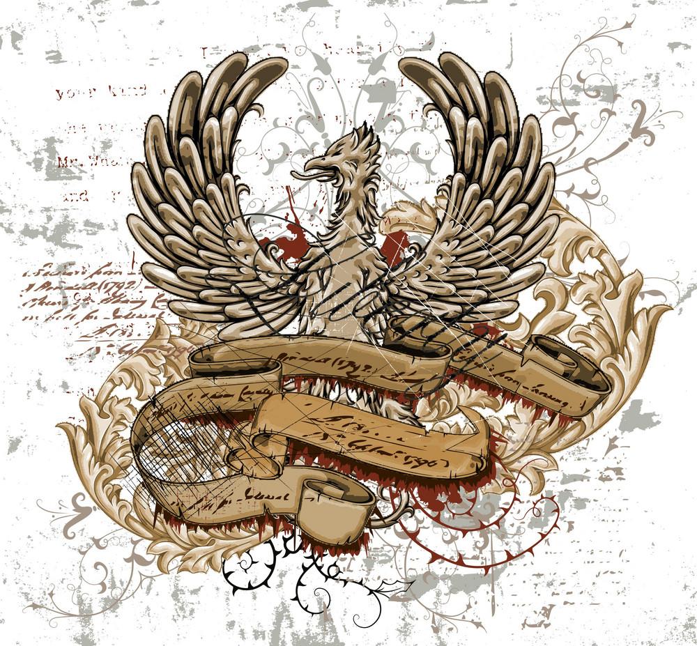 Vector Grunge Vintage Emblem With Bird