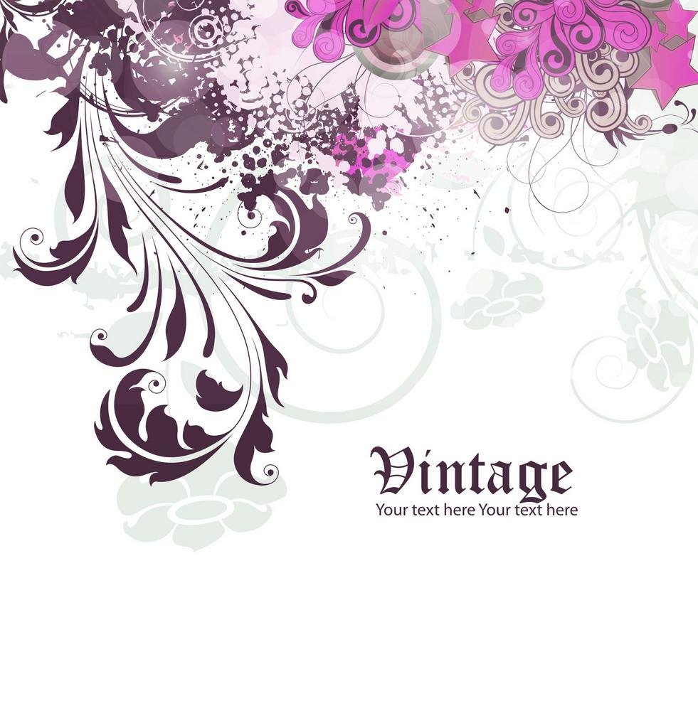 Vector Grunge Vintage Floral Background