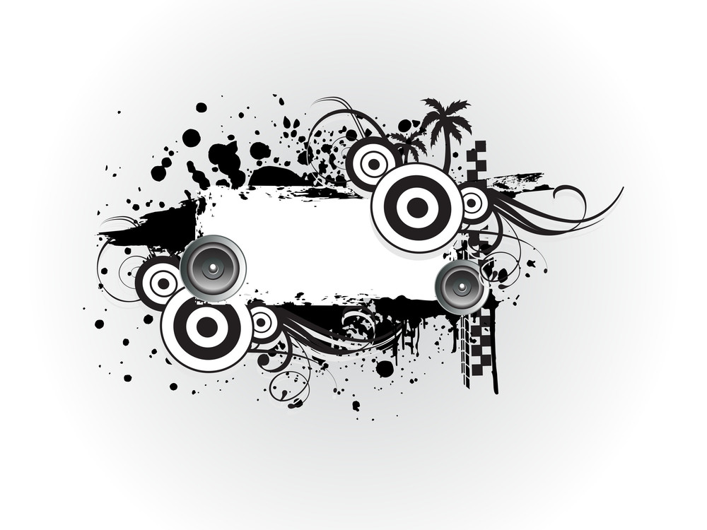 Vector Grungy Musical Photo Frame