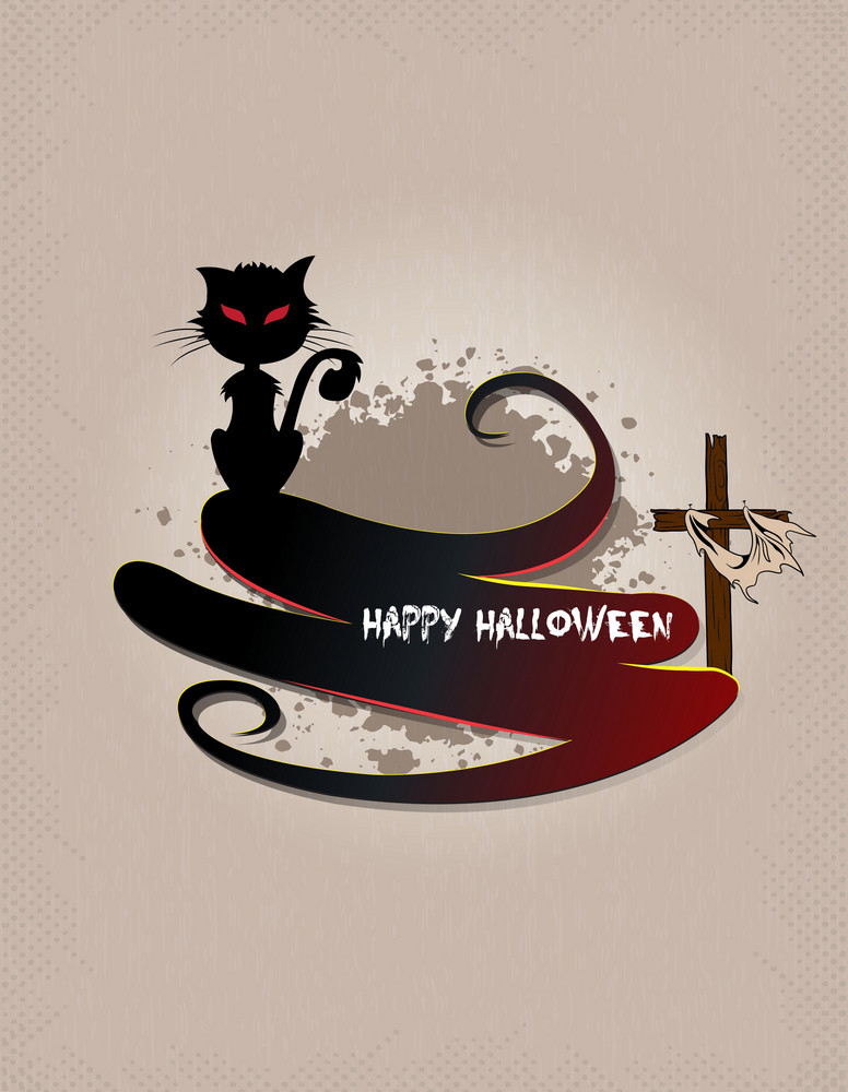 Vector Halloween Background With Cat