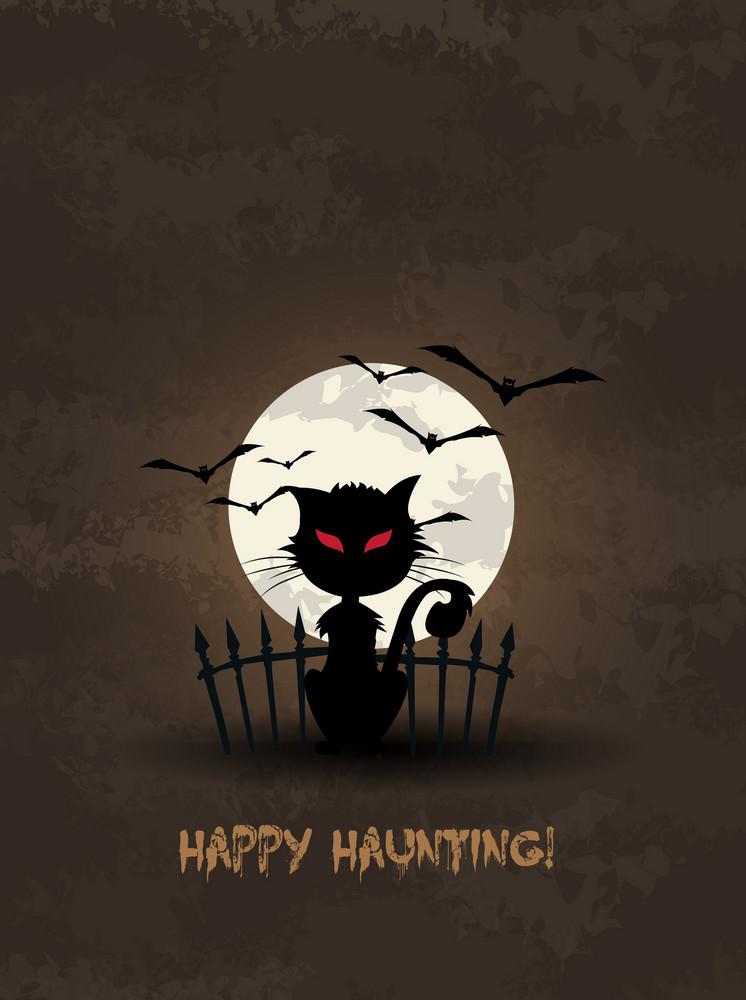 Vector Halloween Background With Cat