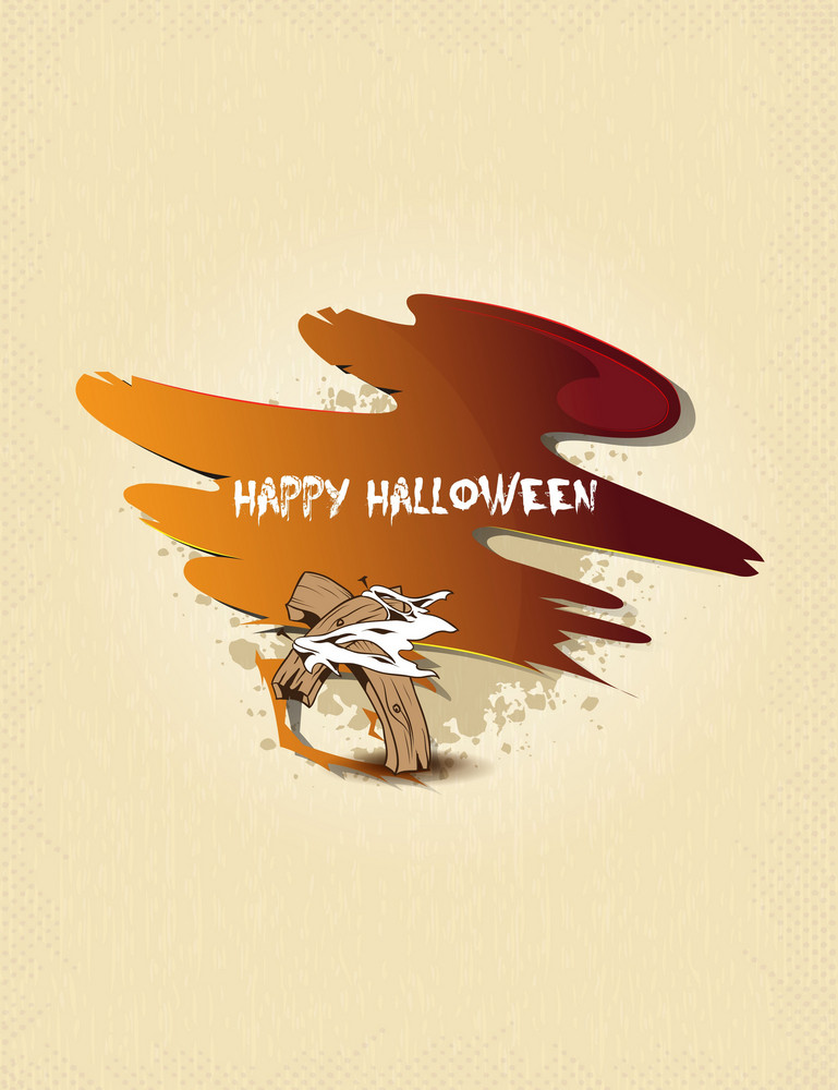 Vector Halloween Background With Cross