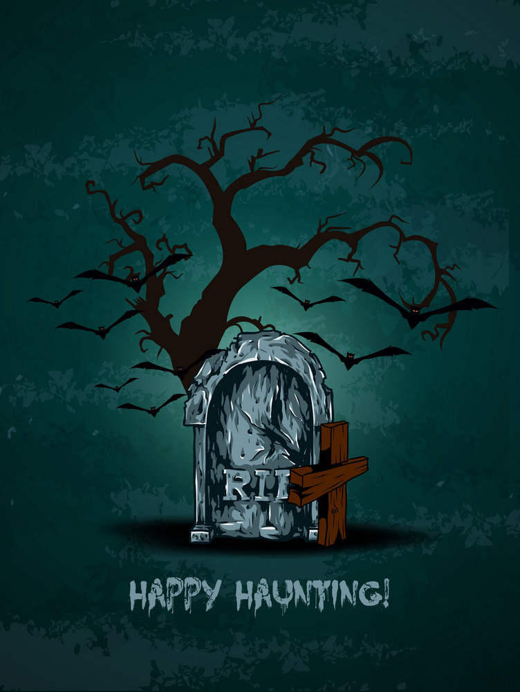 Vector Halloween Background With Graveyard