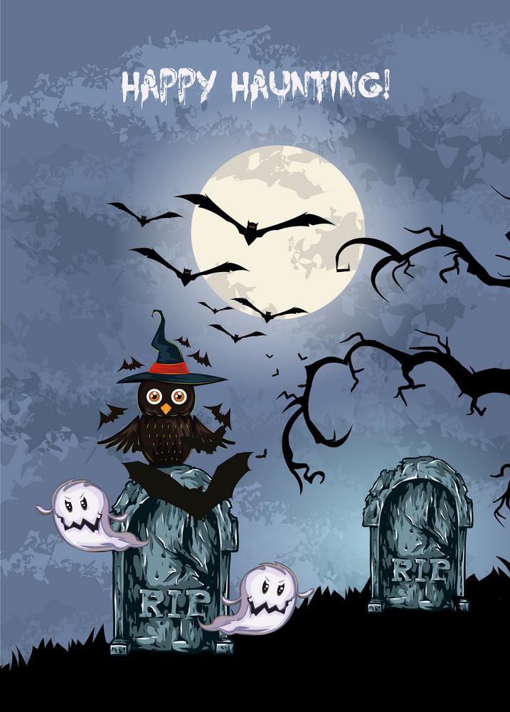Vector Halloween Background With Owl