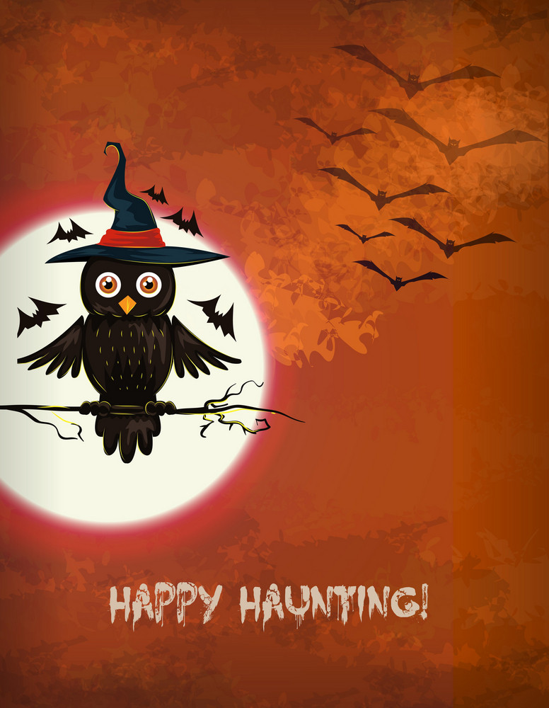 Vector Halloween Background With Owl