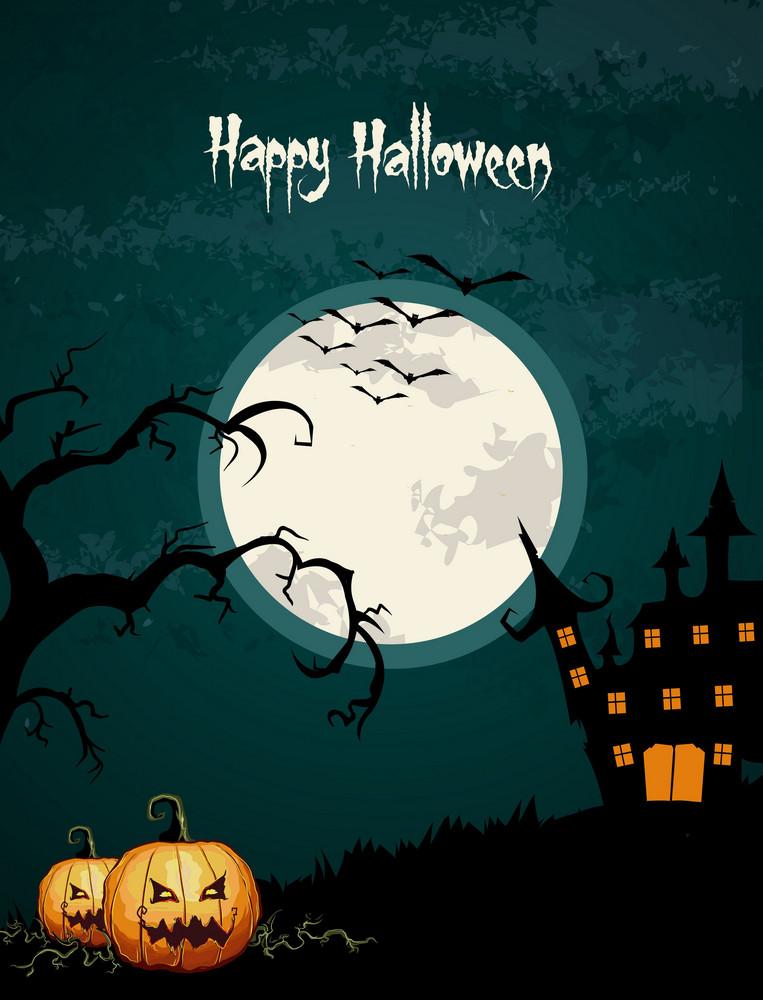 Vector Halloween Background With Pumpkin