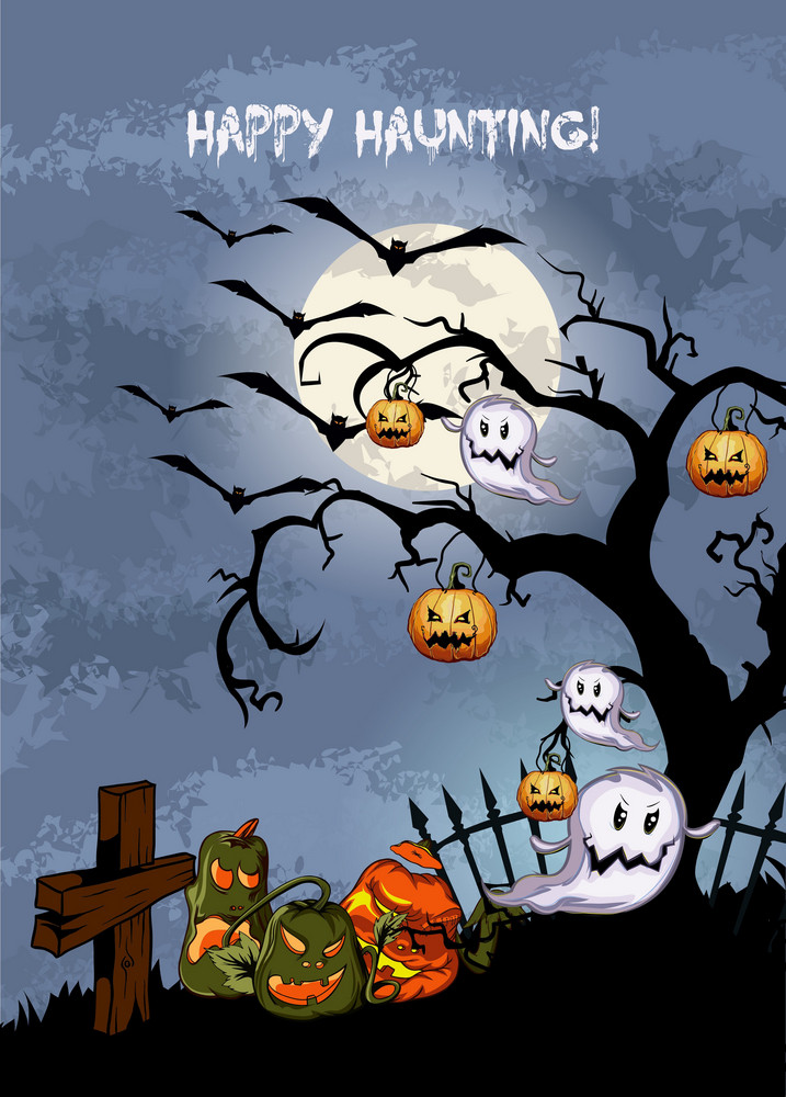 Vector Halloween Background With Pumpkins