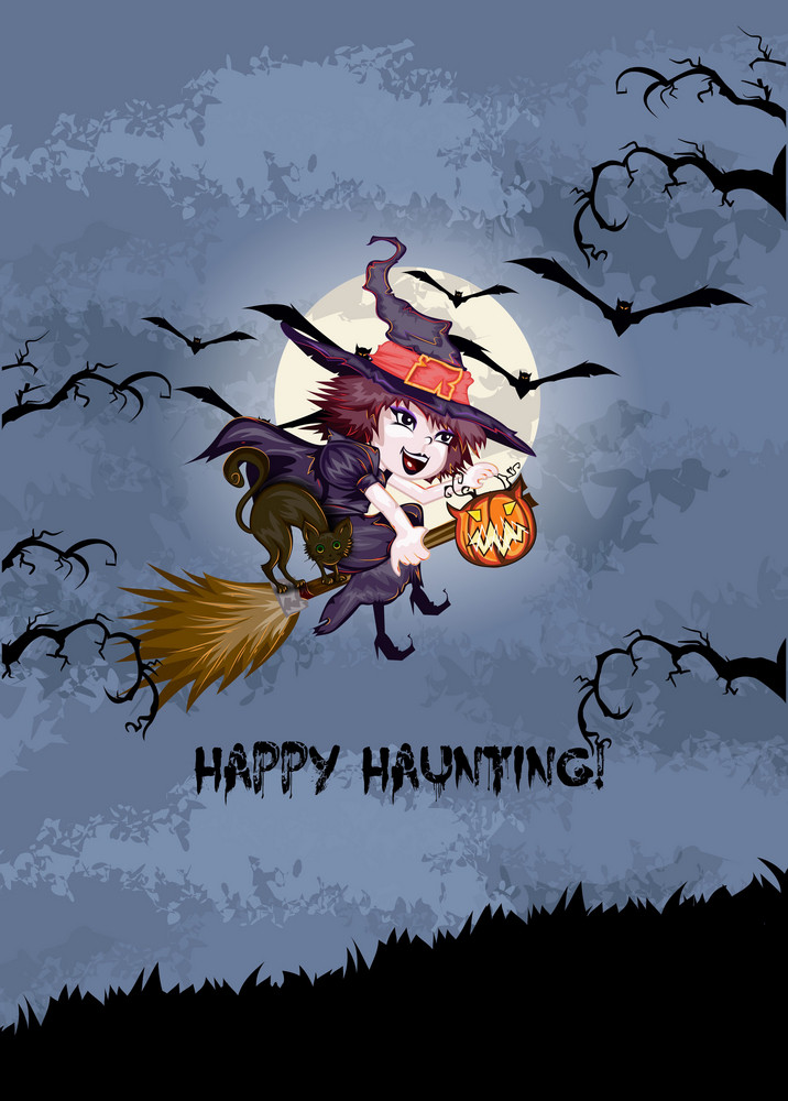 Vector Halloween Background With Witch