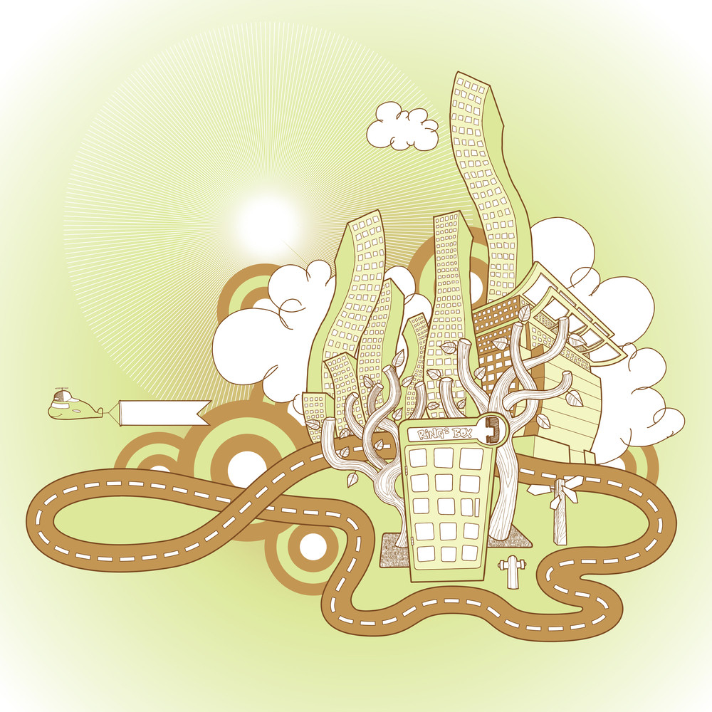 Vector Hand Drawn City Illustration