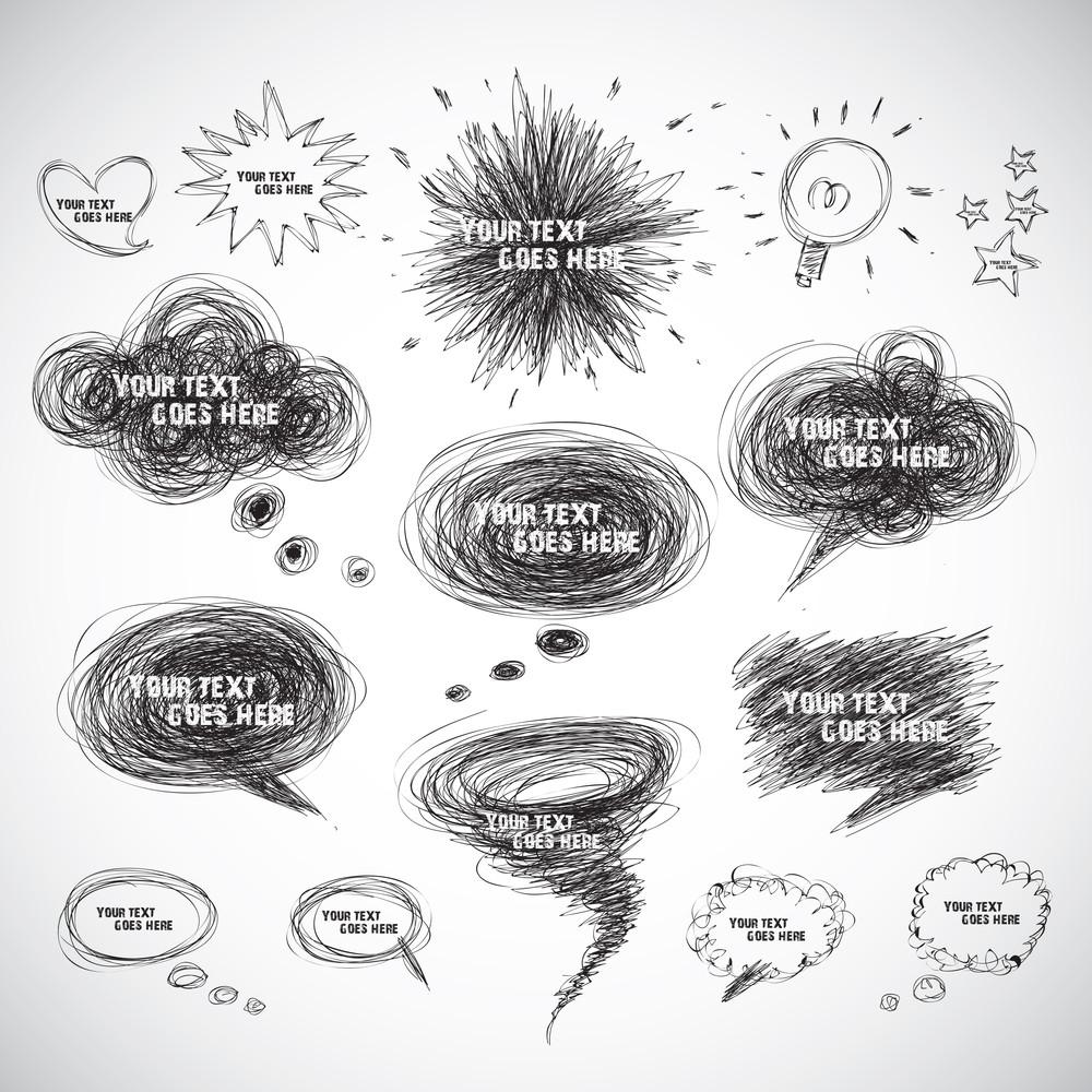 Vector Hand Drawn Comical Speech Bubbles