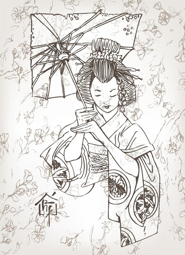 Vector Hand Drawn Geisha Japanese Illustration