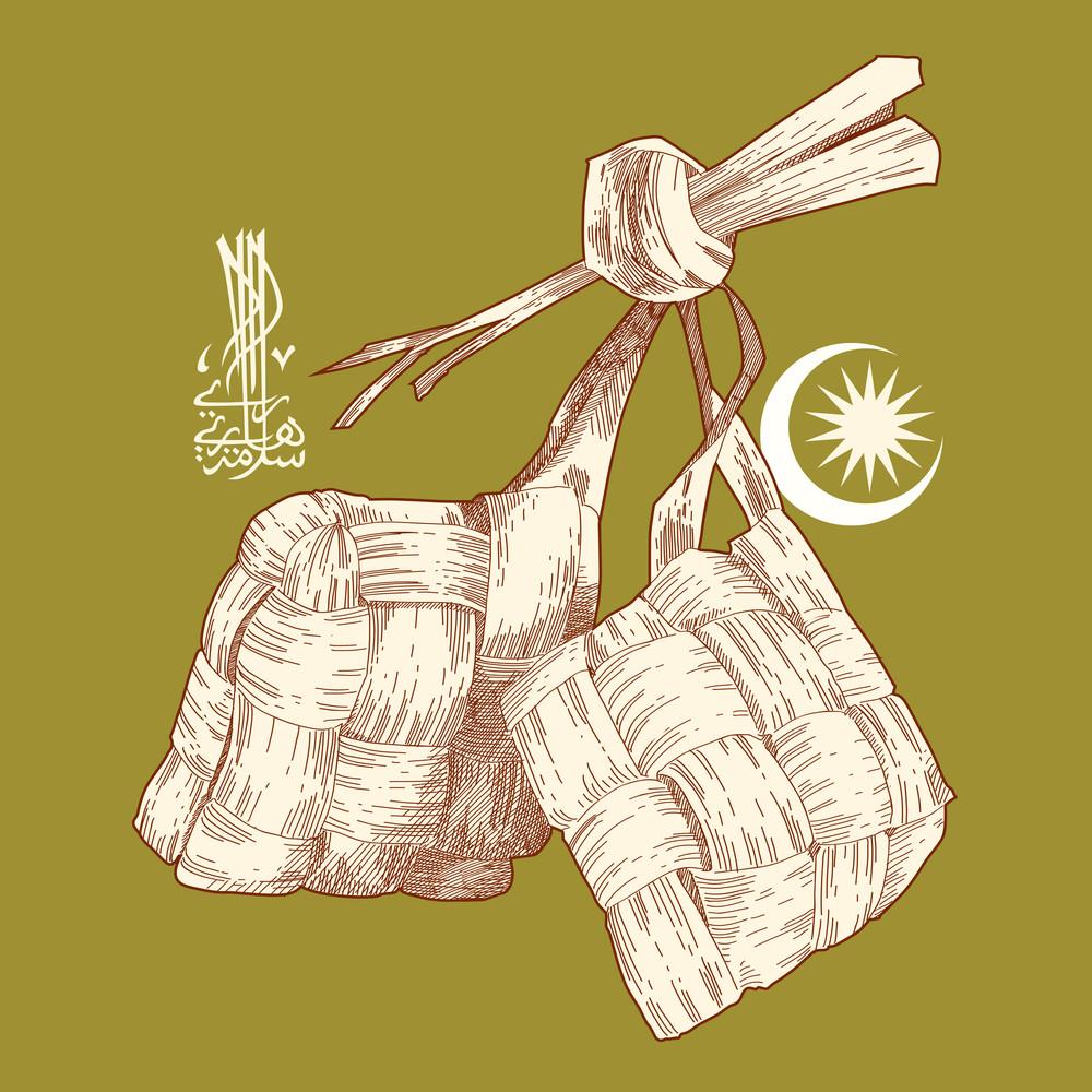 Vector Hand Drawn Ketupat