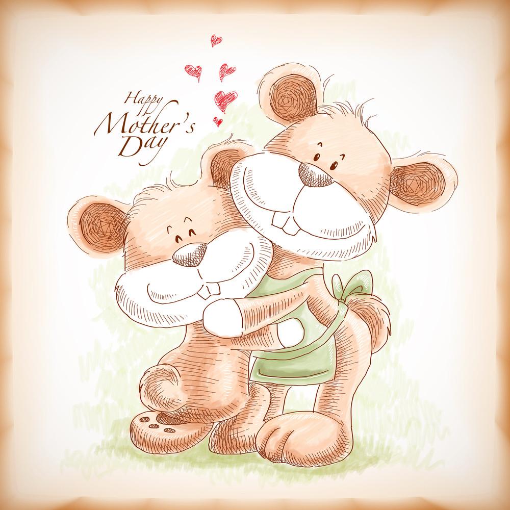 Vector Hand Drawn Mother And Son Teddy Bear