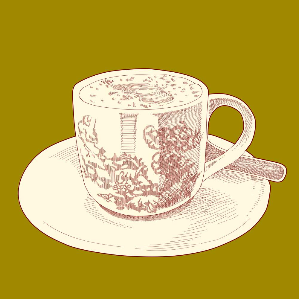 Vector Hand Drawn Retro Asian Coffee Cup